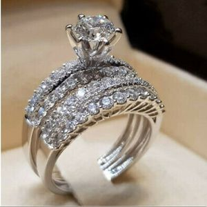 925 Sterling Silver Luxury Sapphire Ring Set
